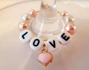 Love and Heart Wine Glass Charm Makes a beautiful Mother's Day, anniversary, birthday or engagement gift for someone special