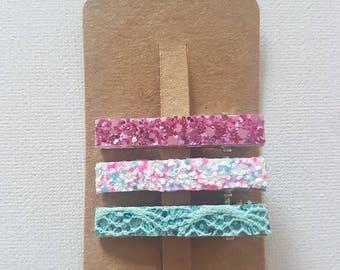 Glitter hair clip set