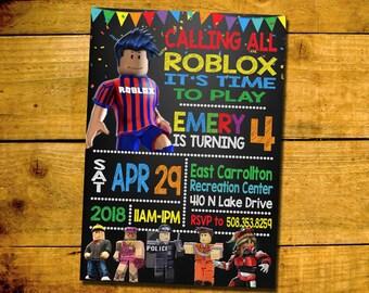 Roblox Invitation  Roblox Birthday Invite  Roblox Birthday Party Chalkboard Invitations  Personalized  YOU PRINT