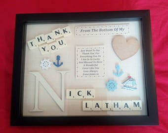 THANK YOU MALE personalised keepsake gift box frame mentor lecturer carer doctor dad etc