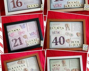 60th 70th 75th 80th 90th 100th PERSONALISED BIRTHDAY FRAME keepsake gift