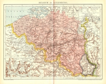 Antique map of Belgium and Luxembourg from 1893