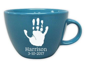 Custom Handprint Coffee Mug, Etched Mug, New Parents Gift, First Father's Day, Baby Handprint Footprint Glass, New Dad, Personalized Coffee