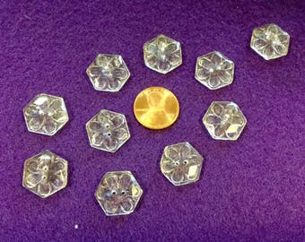 Pressed GLass Buttons 10Pc Daisy Glass Buttons Clear Glass Buttons Floral Glass Buttons Vintage