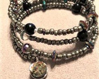 Stardust Charm Memory wire cuff bracelet