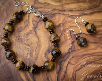 Beaded Gemstone Bracelet, Tiger's Eye Beaded Bracelet and Earring Set