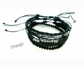 Beaded friendship bracelets set black bracelets