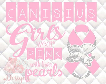 Canisius Golden Griffins Pink and Pearls - Breast Cancer Awareness - SVG, Silhouette studio and png bundle
