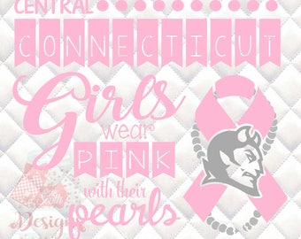 Central Connecticut Blue Devils Pink and Pearls - Breast Cancer Awareness - SVG, Silhouette studio and png bundle