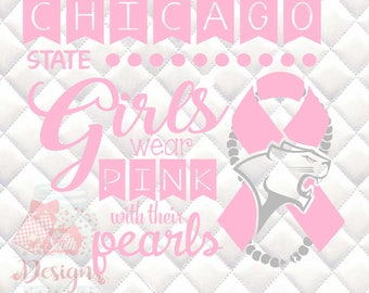 Chicago State Cougars Pink and Pearls - Breast Cancer Awareness - SVG, Silhouette studio and png bundle