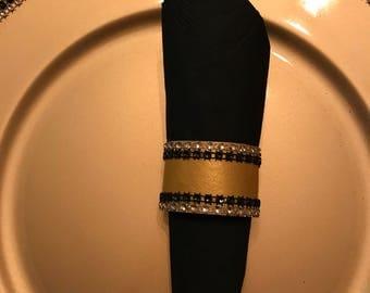 Gold and Black Napkin Ring - Napkin Ring - Set of 6