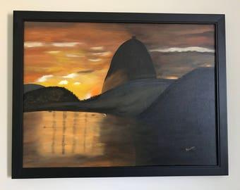 Sugar Loaf Rio de Janeiro Brazil - Acrilyc Paint - Hand Painted Canvas - Christmas Gift