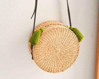 Straw bag Thai Weaving seagrass(water hyacinth) cross body bag handmade with dark brown leather strap / boho bag in round shape
