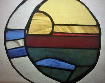 Sunset Stained Glass Panel Sun Catcher