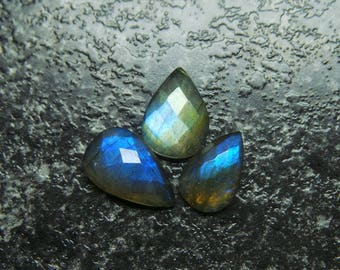 Natural Labradorite Faceted One Side Checker Cut Pear Cabochon, Labradorite Cabochons, 13.5x15.5 MM Loose Gemstone - High Qualit