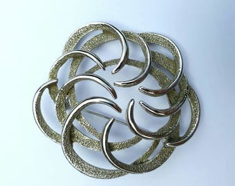 Signed canadian costume jewellery statement piece brooch pin vintage 1960s white metal swirly spiral brooch