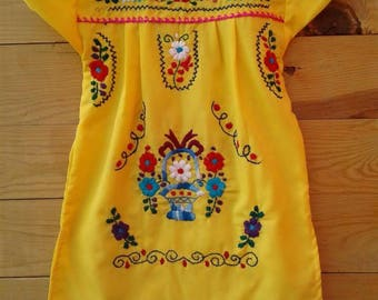 Traditional Mexican hand Embroidered dress size 2