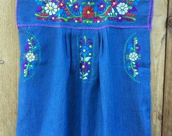 Mexican Embroidered peasant maternity Blouse size Medium