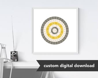 Custom Genealogy Family Tree Chart - Goldenrod Steel Circle (Sophisticated yet Modern with Gold, either Circle Genealogy Chart or Fan Chart)