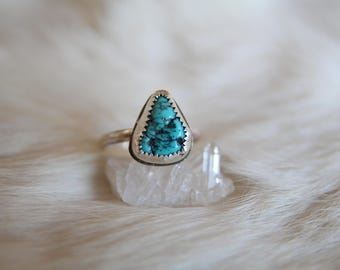Triangle Turquoise Nugget Ring Size 8.75