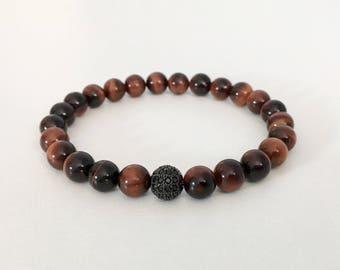Red Tigers eye bracelet - Mens bracelet - Red Tigers eye beads - Beaded bracelet
