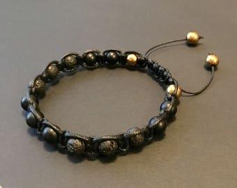 Lava Stone Black Onyx bracelet - Mens bracelet - Beaded bracelet - Shamballa style bracelet