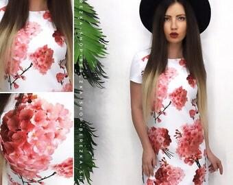 Cherry Blossom Dress, Floral dress, spring flower dress, summer dress, vintage style dress, min-length dress, garden party dress