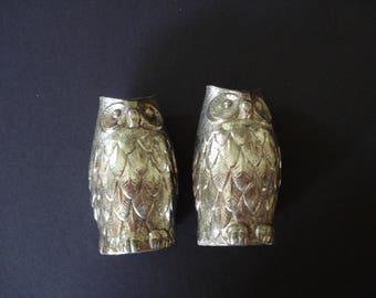 Silvertone  Pair of Decorative Owl Cruets