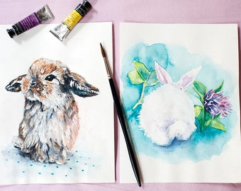 Cute Bunnies ORIGINAL watercolor paintings, a set of 2 small Bunny artworks, Cute Rabbits for kids room. Make your home cozier!
