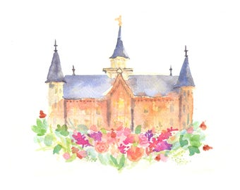 Provo City Center LDS Temple Watercolor Print