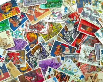 Pack of 50 Used Vintage Christmas Postage Stamps