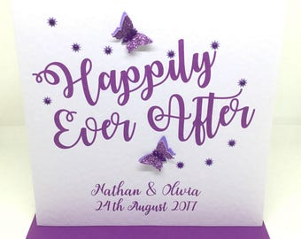 Personalised Handmade Wedding Day Card - Sparkly Happily Ever After - Purple/Lilac