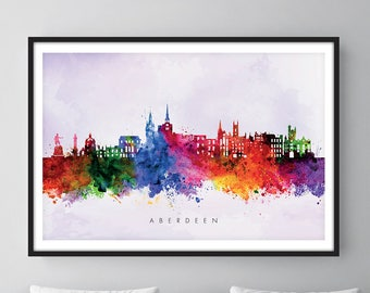 Aberdeen Skyline, Aberdeen Scotland Cityscape Art Print, Wall Art, Watercolor, Watercolour Art Decor [SWABZ02]