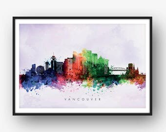 Vancouver Skyline, Vancouver Canada Cityscape, Art Print, Wall Art, Watercolor, Watercolour Art Decor [SWYVR02]