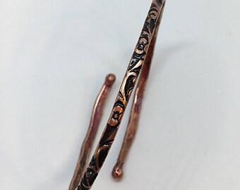 Oxidized copper adjustable bangle
