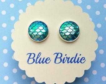 Mermaid earrings mermaid jewelry mermaid stud earrings turquoise shimmering fish scale earrings mermaid jewellery dragon scale jewellery D