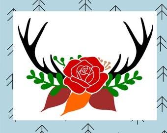 Antler floral swag svg Deer svg Deer antler svg Deer antlers svg Floral svg Flower svg Red Rose svg files for Cricut Silhouette cut files