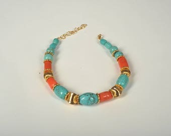 Rebecca Choker made of coral and aulite