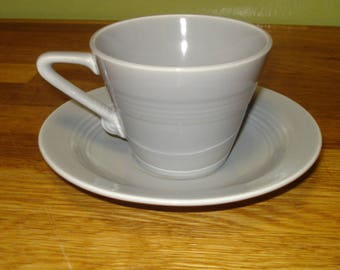 Homer Laughlin Gray Teacup and Saucer