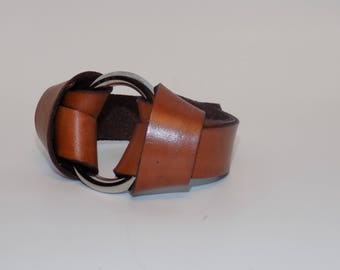 Leather Bracelet - Leather Bracelet with Silver - Bold Leather Bracelet - Leather Jewelry - Leather Cuff - Men's and Women's Leather Cuff