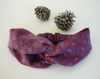 Burgundy Red headband with mini Blue Paisley design
