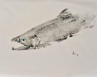 "Original Salmon Gyotaku Print 19"" x 26"" ET15"