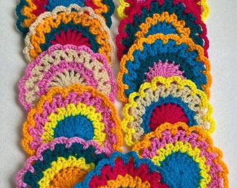 coasters crochet vibrant colours