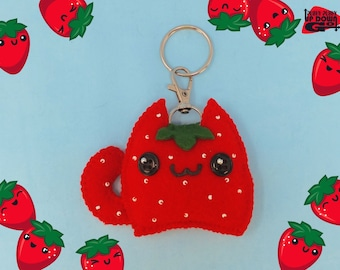 Kawaii Strawberry Cat Plush Keychain & Fruit Bag Charm, Kawaii Fruit Keychain, Kawaii Strawberry Food Bag Charm Accessories
