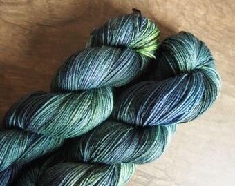 Midnight Forest Superwash Merino - hand dyed yarn