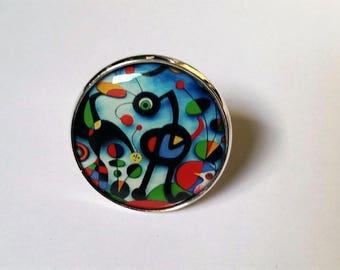 Birds painting Miro style ring