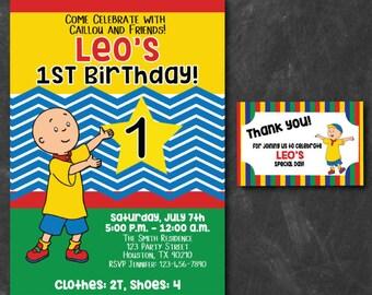 Caillou Birthday Invitation, Caillou Theme Birthday, Caillou, First Birthday