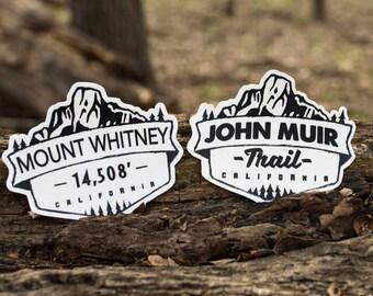 Mount Whitney & John Muir Trail Vinyl Stickers
