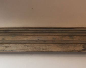 Distressed, shabby chic fireplace mantel shelf.  Handcrafted using solid wood.  This vintage look mantel is one-of-a-kind.