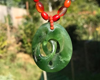 New zealand Jade pendent necklace with res coral, amber, yellow apatite